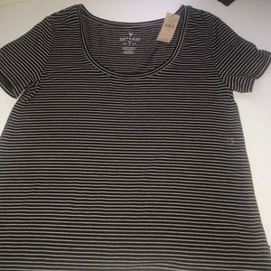 American Eagle Black and White stripped shirt